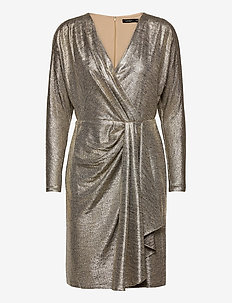 Metallic Stretch Knit Cocktail Dress - robes de cocktail - beige/gold