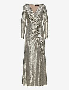 Metallic Ruffle-Trim Gown - robes de soirée - beige/gold