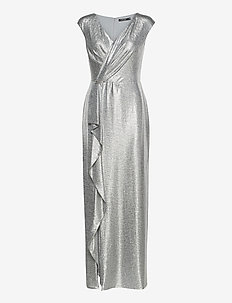 Ruffle-Trim Metallic Gown - robes de soirée - dark grey/silver