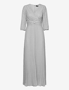 Pleated Metallic Georgette Gown - kveldskjoler - liquid silver
