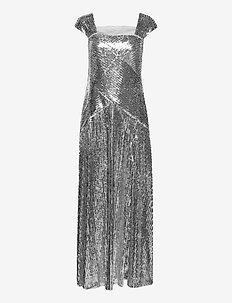Metallic Sequined Gown - aftenkjoler - liquid silver