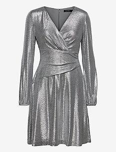 Metallic Long-Sleeve Dress - festklänningar - dark grey silver