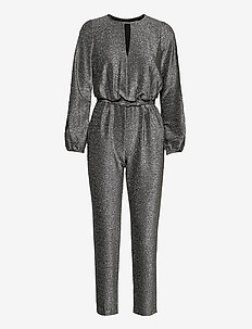 Metallic Long-Sleeve Jumpsuit - jumpsuits - black/silver