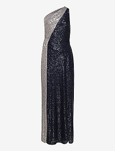 Two-Tone Sequined One-Shoulder Gown - aftenkjoler - lighthouse navy