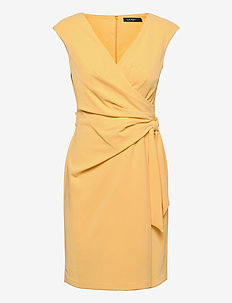 Crepe Wrap-Style Dress - cocktail dresses - beach yellow