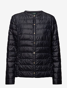 Collarless Packable Coat - NAVY