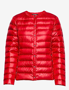Collarless Packable Coat - RED