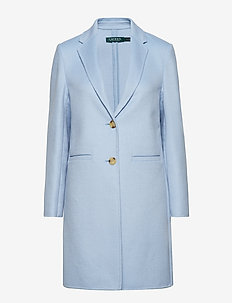 Wool-Blend Two-Button Coat - LIGHT BLUE