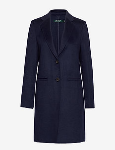 Wool-Blend Two-Button Coat - villakangastakit - navy