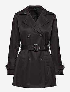 Belted Trench Coat - BLACK