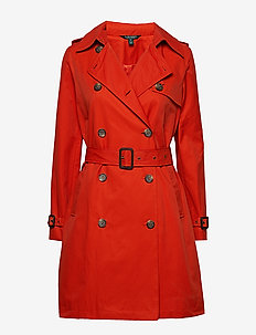 Cotton-Blend Trench Coat - BURNT ORANGE