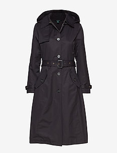 Cotton-Blend Long Trench Coat - BLACK