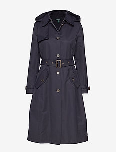 Cotton-Blend Long Trench Coat - DK NAVY