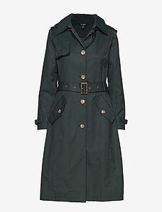 Cotton-Blend Long Trench Coat - HUNTER