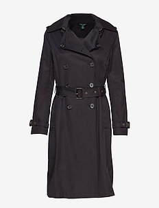 COTTON POLYESTER-DB MAXI TRENCH - BLACK