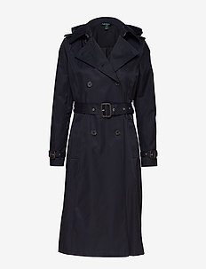 COTTON POLYESTER-DB MAXI TRENCH - trenchcoats - dk navy