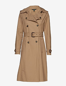 COTTON POLYESTER-DB MAXI TRENCH - trenchcoats - sand