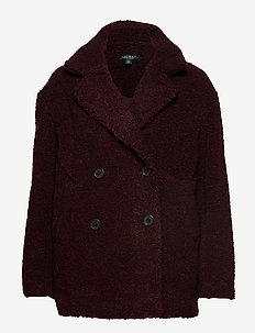 FAUX SHEARLING-DB TEDDY PEACOAT - BURGUNDY