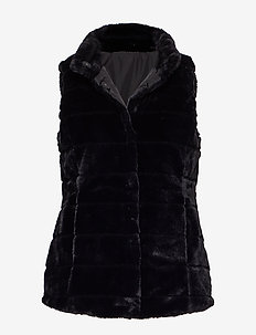 FAUX FUR-REVERSIBLE FF VEST - vests - black w/ wide sta