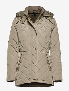 SATIN FINISH-HOODED MOTO QUILT - TAUPE