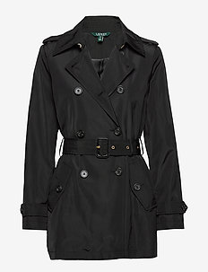FAUX MEMORY-SOFT TAFFETA TRENCH - trenchcoats - black