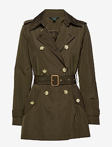 FAUX MEMORY-SOFT TAFFETA TRENCH - NEW ARMY