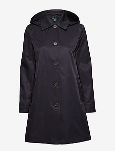 COTTON NYLON-SNGL BRST BLMCN W/HD - trench coats - dk navy