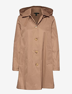 COTTON NYLON-SNGL BRST BLMCN W/HD - trenchcoats - sand