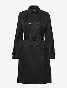 Faux Leather–Trim Trench Coat - trenchs - black