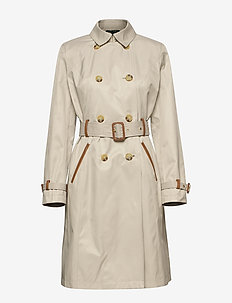 Faux Leather–Trim Trench Coat - trenchcoats - tone cream