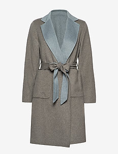 Reversible Wool-Blend Coat - uldfrakker - grey/blue