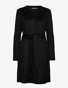 Belted Wool Coat - villakangastakit - black
