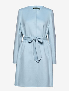 Belted Wool Coat - villakangastakit - light blue