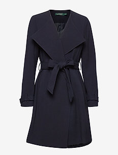 Crepe Open-Front Coat - ullkappor - midnight