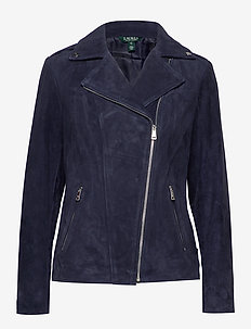Leather Moto Jacket - skinnjackor - deep cobalt