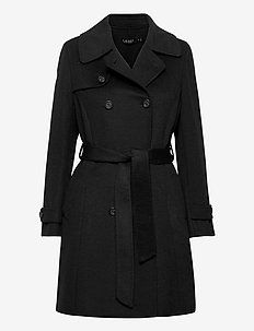 Wool-Blend Trench Coat - uldfrakker - black