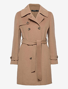 Wool-Blend Trench Coat - uldfrakker - khaki