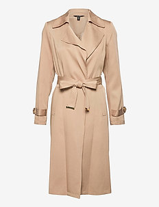 Wrap-Style Duster Coat - trench coats - khaki