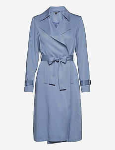 Wrap-Style Duster Coat - trench coats - slate blue