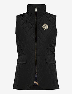 Quilted Crest Vest - puffer vests - black