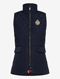 Quilted Crest Vest - puffer vests - dark navy