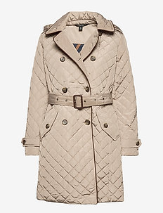 Quilted Trench Coat - vestes matelassées - taupe