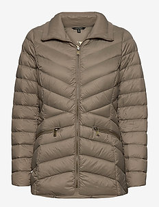 Packable Quilted Down Jacket - forede jakker - taupe