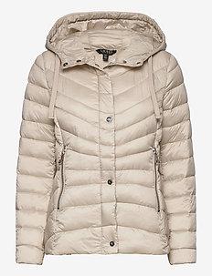 Quilted Hooded Jacket - fôrede jakker - lt beige