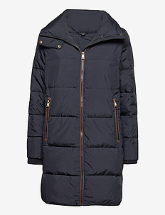 Faux Leather-Trimmed Down Coat - dunkåper - dk navy