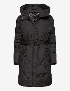 Belted Down Coat - dynefrakke - black