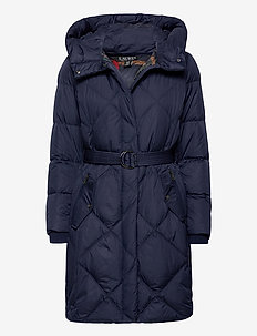 Belted Down Coat - quilted jackets - navy