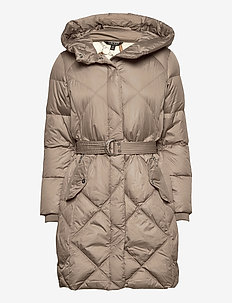 Belted Down Coat - quilted jackets - taupe