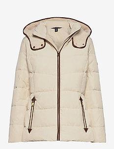 Faux Leather-Trim Down Coat - fôrede jakker - moda cream