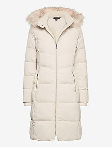 Hooded Down Coat - dunkåper - moda cream